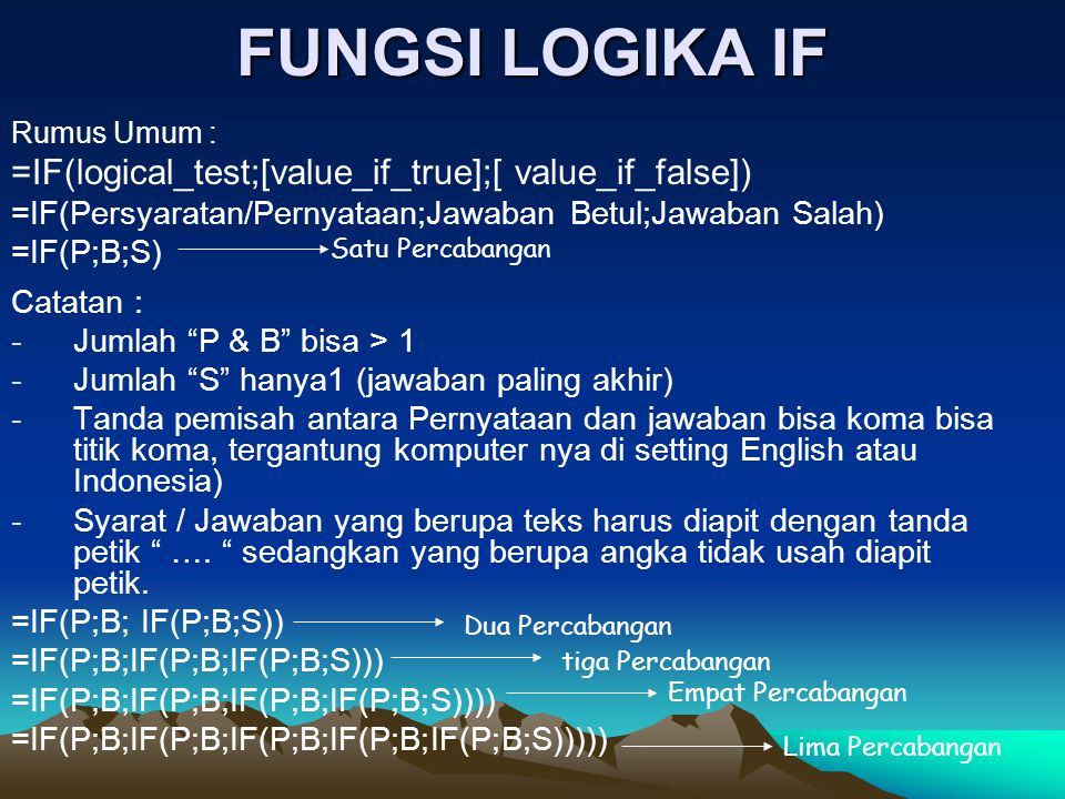 FUNGSI LOGIKA IF =IF(logical_test;[value_if_true];[ value_if_false])